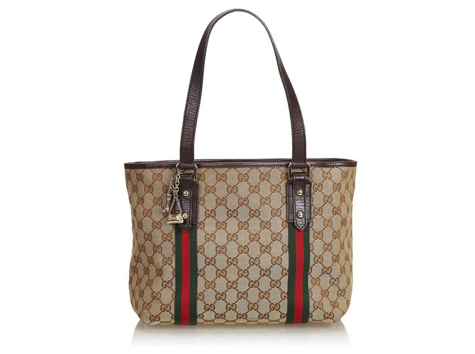 a474ed69131b Gucci Gucci Brown GG Jacquard Jolicoeur Tote Bag Totes Leather,Other,Cloth  Brown,