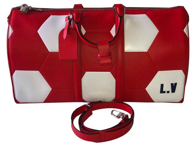 Sacs de voyage Louis Vuitton Keepall 50 Cuir Rouge ref.120972