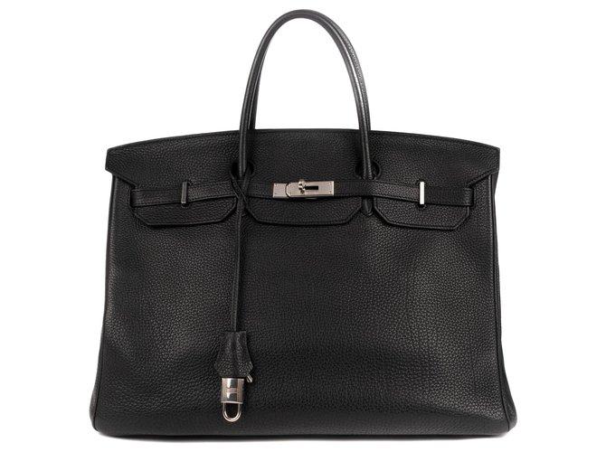 Hermès Birkin 40 Handbags Leather Black ref.121010