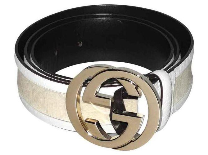 387ef09f4 Gucci Gucci belt Buckle white leather and monogrammed canvas Belts Leather,Cloth  White,Cream