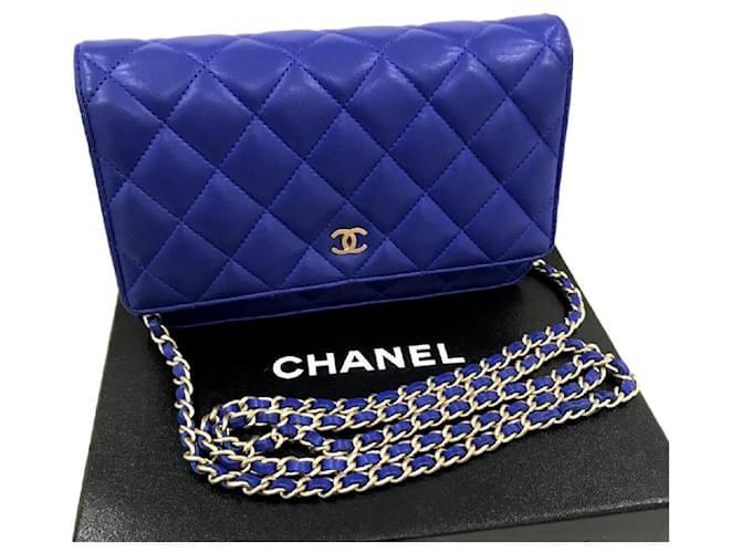 ece1460c45 Sacs à main Chanel Portefeuille Chanel Bleu sur Chaîne Cuir Bleu ref.121186