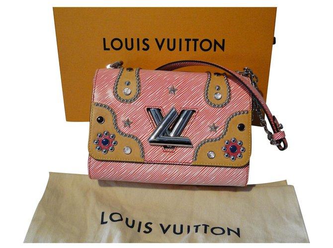Sacs à main Louis Vuitton Sac Twist MM cuir épi Edition limitée Western Cuir Blanc,Rouge ref.121336