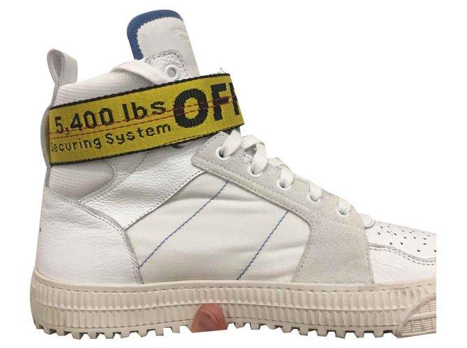 Off White Hi Top Co Virgil Abloh Sneakers Leather White Yellow Ref 121645 Joli Closet