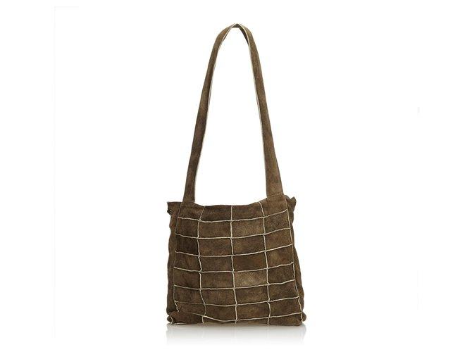 d463c22c777f Chanel Chanel Brown Suede Patchwork Shoulder Bag Handbags Suede,Leather  Brown,Khaki ref.