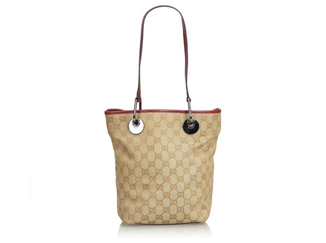 6c0e030358e0 Gucci Gucci Brown GG Jacquard Eclipse Tote Bag Totes Leather,Other,Cloth  Brown,