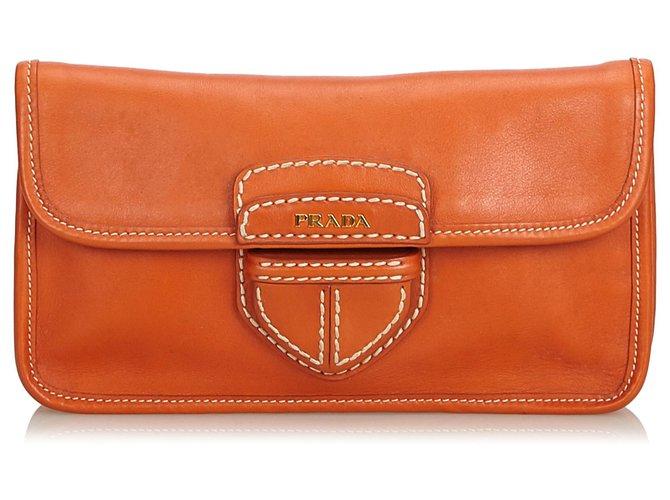 c4c4882cdb92 Prada Prada Orange City Clutch Bag Clutch bags Leather,Other Orange  ref.121781