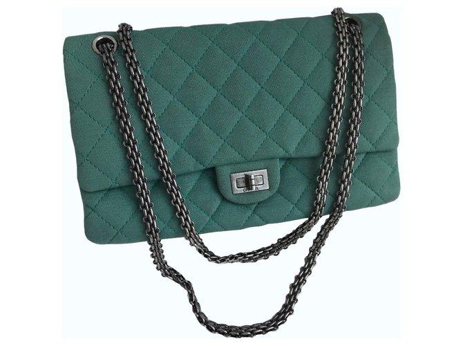 1b4ac077e378da Chanel 2.55 Reissue 28 cm Large Flap Bag 226 Handbags Leather,Cloth Green ,Light