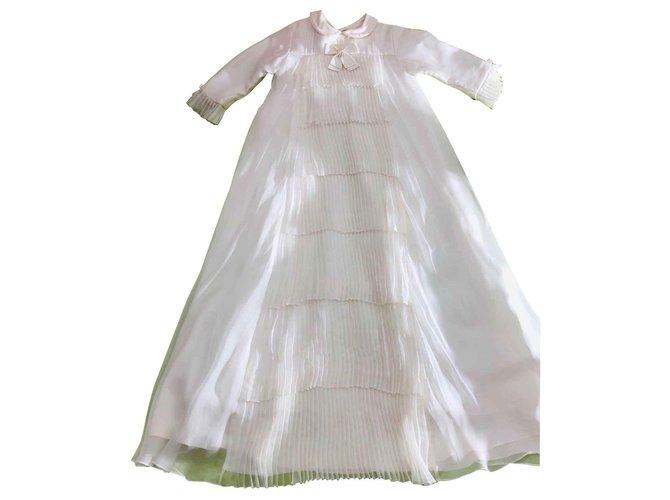 Robes fille Baby Dior Robe de baptême cérémonie Soie Blanc cassé ref.121880