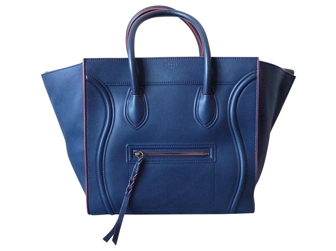 Céline Céline Luggage Phantom Handbags Leather Navy blue ref.121884