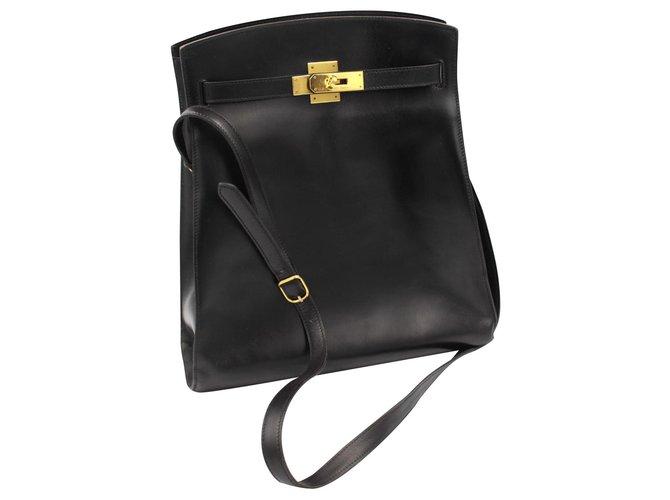 Sacs à main Hermès Kelly Spot Cuir Noir ref.121890
