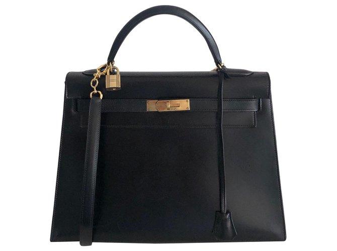 Sacs à main Hermès Hermes Kelly 32 Sellier Box Noir Cuir Noir ref.121898