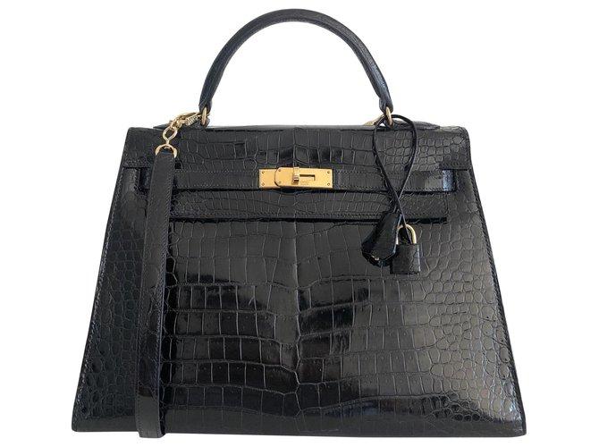 Sacs à main Hermès Hermes Kelly 33 Sellier Crocodile Porosus Noir Cuirs exotiques Noir ref.121902