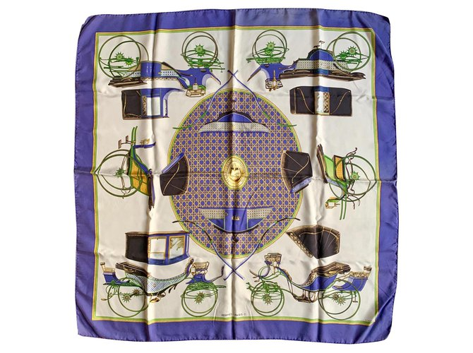 Hermès Transformation Cars Silk scarves Silk Blue,Cream ref.121908