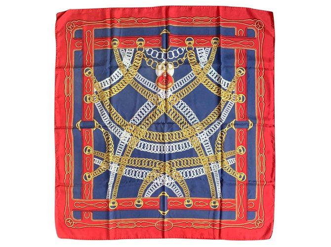 Hermès links Silk scarves Silk Red,Blue ref.121911