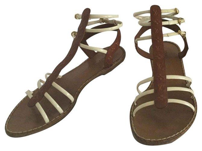 Louis Vuitton Spartans Sandals Leather Chocolate ref.121953