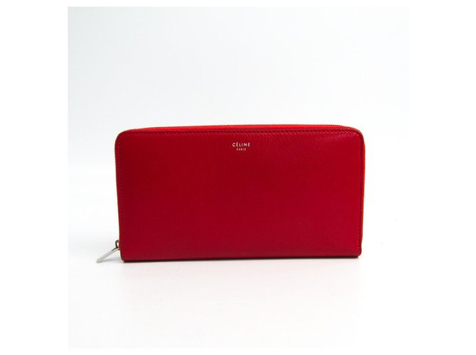 Céline Celine Red Zipped Multifunction Wallet Misc Leather,Pony-style calfskin Red ref.121968