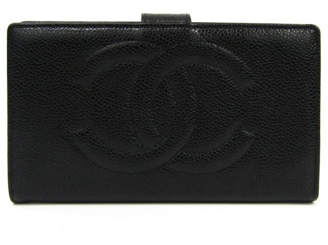 Chanel Chanel Black Caviar French Purse Wallet Misc Leather Black ref.121980