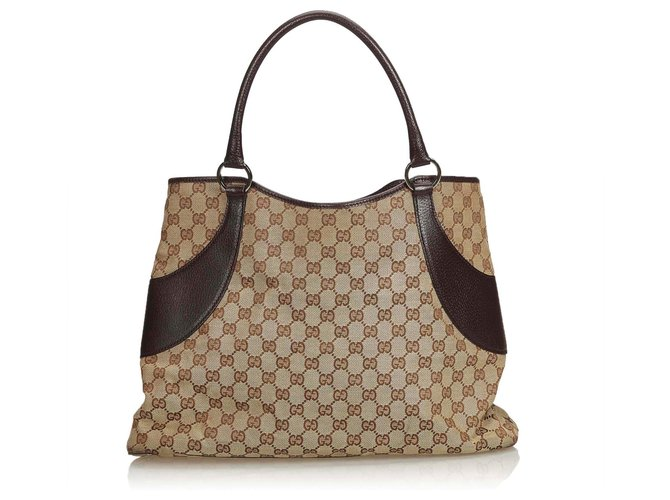8ec580e8051 Gucci Gucci Brown GG Canvas Tote Bag Totes Leather