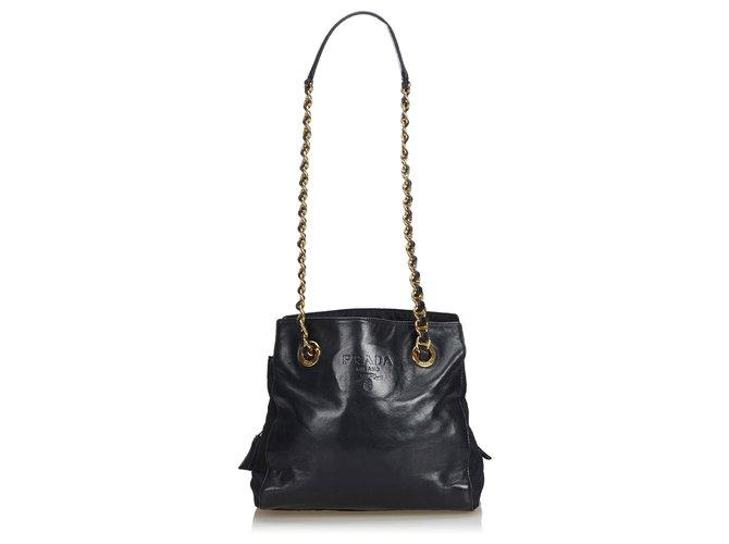 a573bb1d7646 Prada Prada Black Calf Leather Chain Shoulder Bag Handbags Leather,Pony-style  calfskin Black
