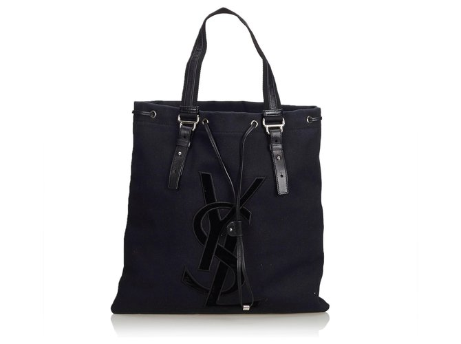 79176132e6 Yves Saint Laurent YSL Black Canvas Kahala Tote Totes  Leather,Other,Cloth,Cloth