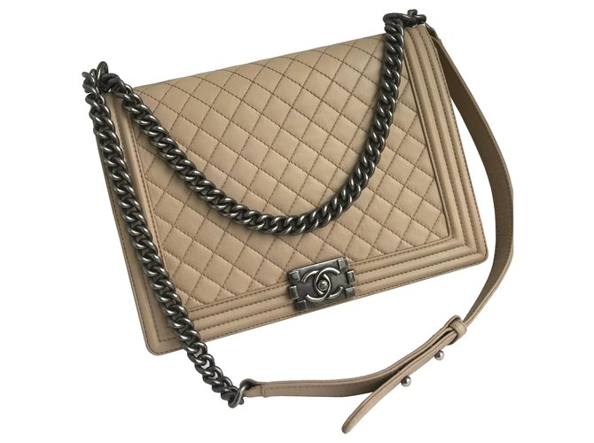 be6f8a7c4e49bc Chanel Boy Large with Chanel box Handbags Leather Beige ref.122220 ...