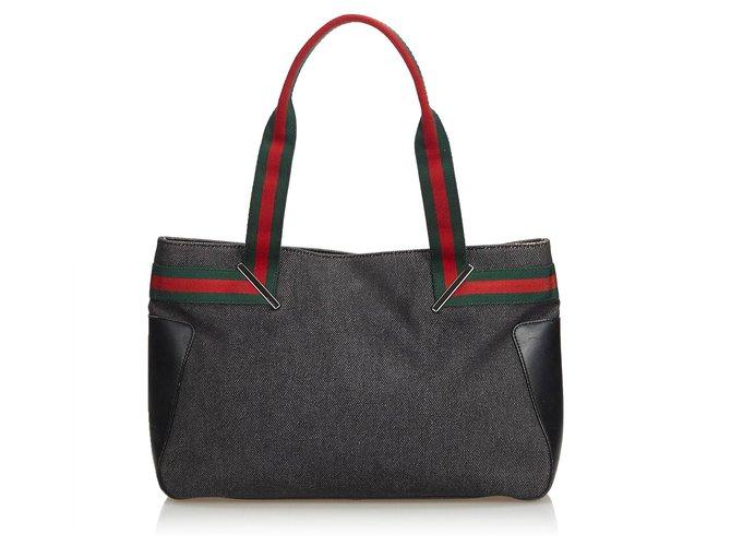 Sacs à main Gucci Gucci Black Web Denim Sac à main Cuir,Autre,Jean,Tissu Noir,Multicolore ref.122266
