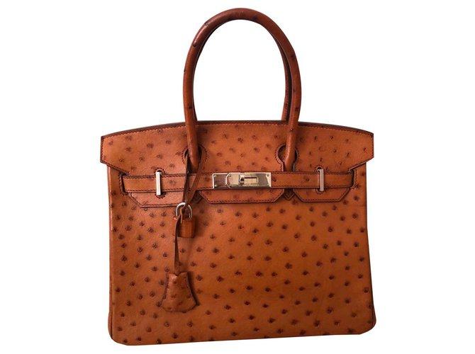 Hermès Birkin 30 Handbags Leather,Exotic leather Brown,Light brown,Caramel ref.122309