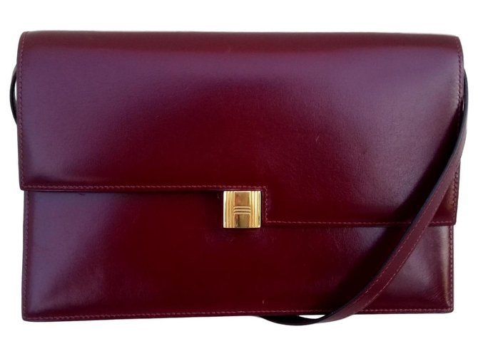 Hermès Hermès Padlock Purse Bag Handbags Leather Red ref.122387