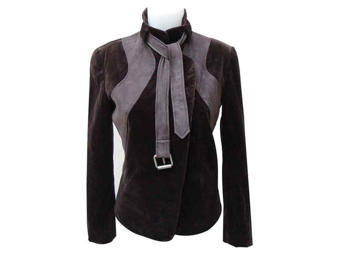 Chloé Jackets Jackets Leather,Cotton,Modal Brown ref.122423