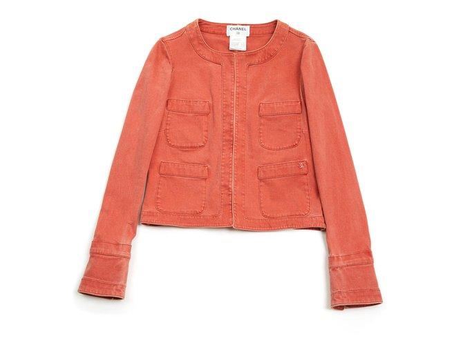 Chanel APRICOT DENIM FR34/36 Jackets Cotton Coral ref.122477