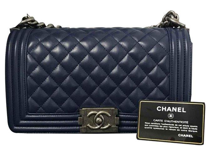 Chanel Handbags Handbags Leather Blue ref.122568
