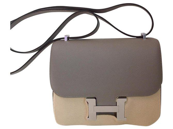 Hermès Constance Handbags Leather Grey ref.122682