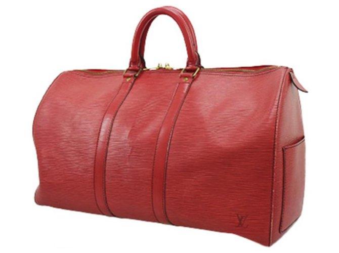 Sacs de voyage Louis Vuitton Louis Vuitton - Keepall 45 - vintage Cuir vernis,Toile Rouge ref.122786
