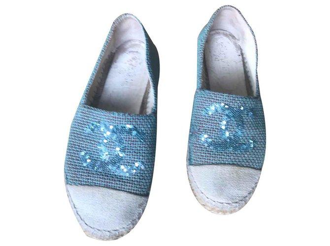 Mocassins Chanel Espadrilles Autre Bleu clair ref.122834