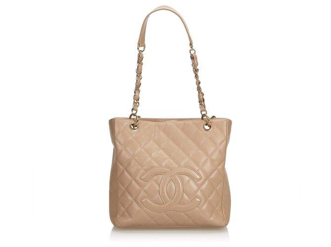 178add2e8f7f Chanel Chanel Pink Caviar Petite Shopping Tote Handbags Leather Pink  ref.122842