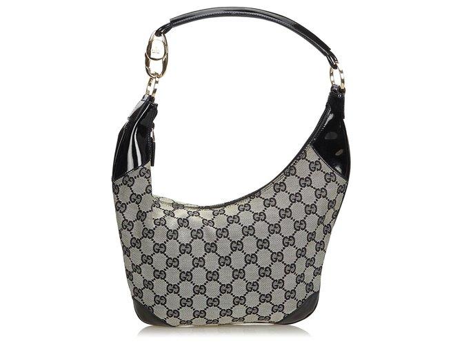 0110abc12 Gucci Gucci Gray GG Jacquard Hobo Bag Handbags Leather,Other,Cloth  Black,Grey