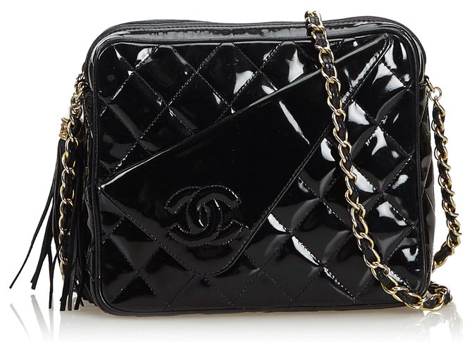 ad78da01762454 Chanel Black Patent Leather Quilted Chain Era Bag Handbags. Chanel Grey  Quilted Patent Leather Maxi Clic Double Flap Bag Nextprev Prevnext