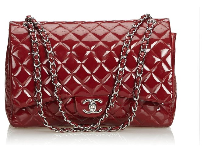 a923a600e017 Chanel Chanel Red Classic Maxi Patent Leather lined Flap Bag Handbags  Leather
