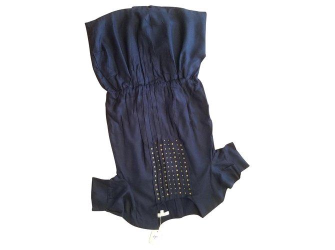 Robes fille Autre Marque ROBE FILLE CHLOE BLEU MARINE AVEC RIVET , Plissée .Taille basse ,6/8/12/14 ans. Coton,Viscose Bleu Marine ref.122995