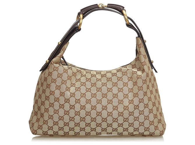 d707f687918e Gucci Gucci Brown GG Jacquard Horsebit Hobo Bag Handbags  Leather,Other,Cloth Brown,