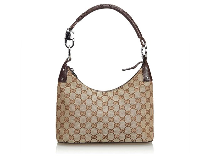 71dc572353d2 Gucci Gucci Brown GG Jacquard Hobo Bag Handbags Leather,Other,Cloth Brown ,Beige