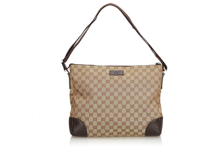 4dbb39db64da Gucci Gucci Brown GG Jacquard Crossbody Bag Handbags Leather,Other,Cloth  Brown,Beige