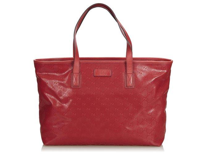 Cabas Gucci Sac cabas Gucci Red GG Imprime Cuir,Autre,Plastique Rouge ref.123102