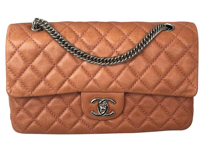 Chanel classical Handbags Leather Pink,Orange,Coral ref.123158