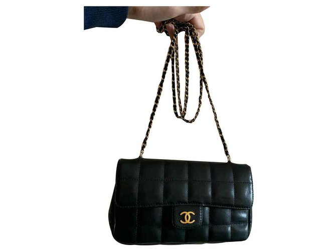 Sacs à main Chanel Mini Chanel Cuir Noir ref.123179