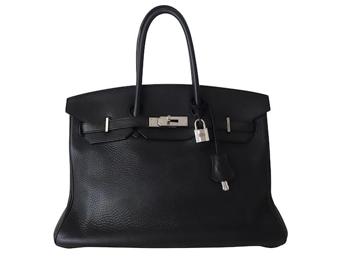 Hermès HERMES BIRKIN BAG 35 black Handbags Leather Black ref.123229