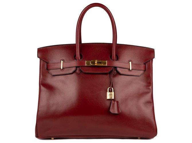 Sacs à main Hermès Superbe Hermès Birkin 35 en cuir Box Bordeaux, accastillage doré en très bon état! Cuir Bordeaux ref.123233