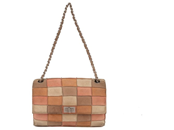 Sacs à main Chanel Sac Chanel 2.55 en patchwork de daim en bon état ! Daim Multicolore ref.123280
