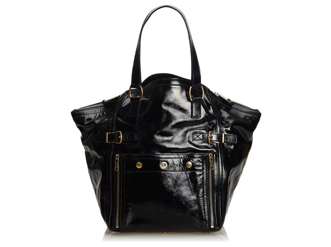 2c3b9240 YSL Black Patent Leather Downtown Tote
