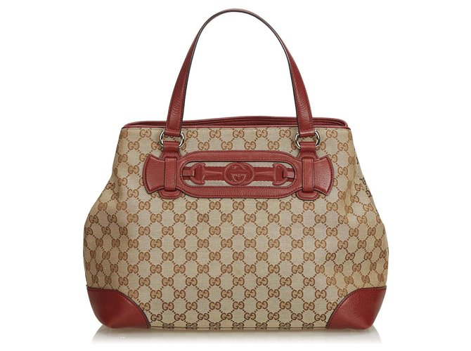 055917be1bf8 Gucci Gucci Brown GG Jacquard Dressage Tote Bag Totes Leather,Other,Cloth  Brown,
